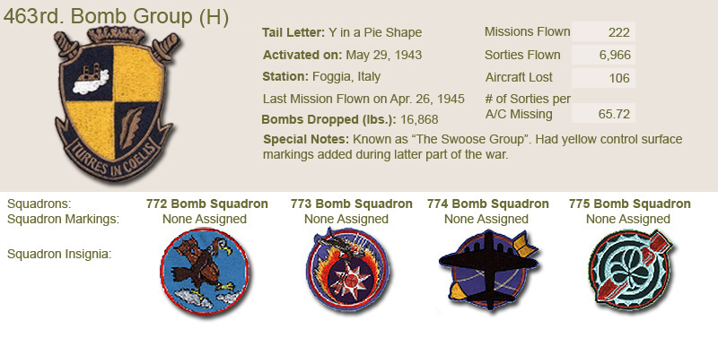 463rd Bomb Group and Unit Insignias